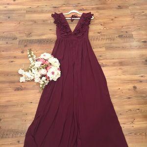 Pleated Ruffle Maxi Dress